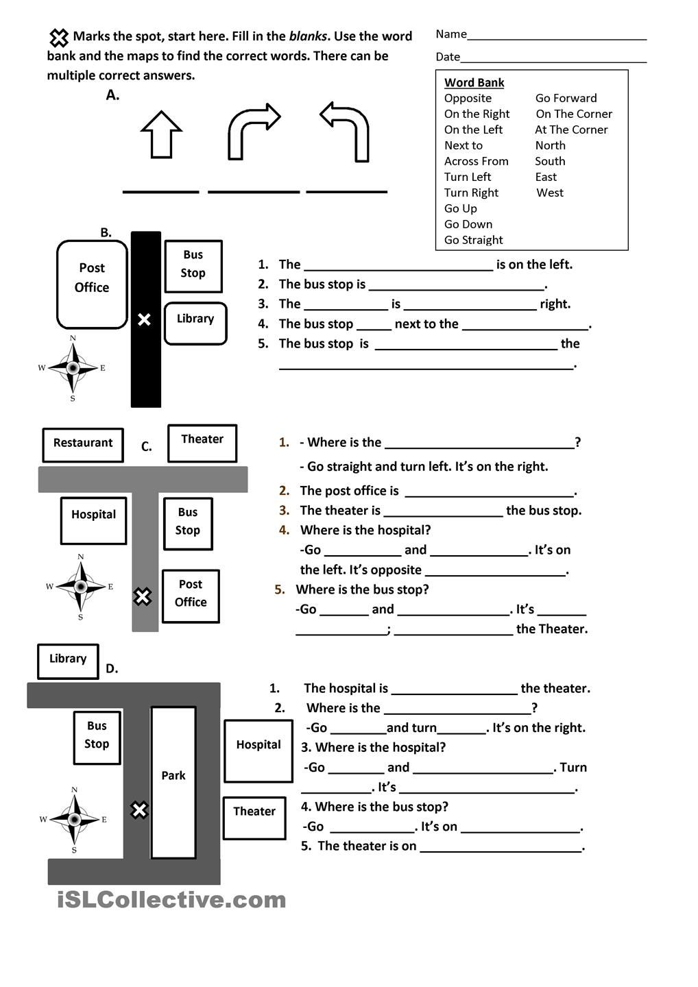 Directions, Prepositions and Maps Worksheet