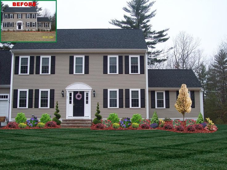 landscape design front of colonial house