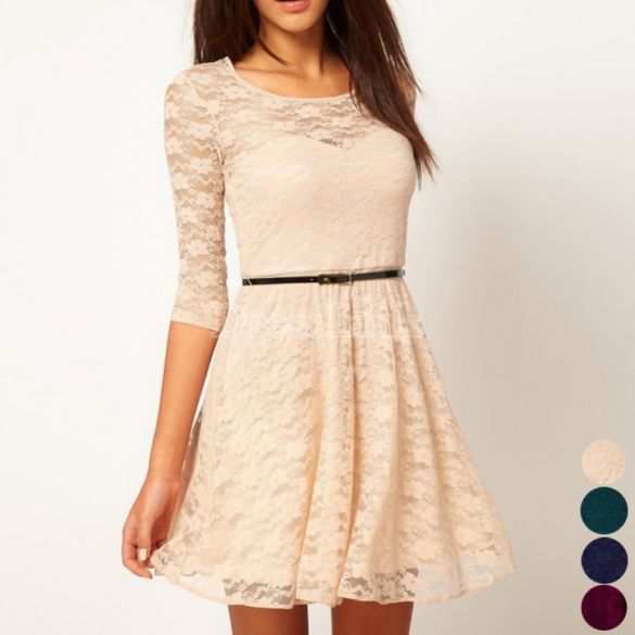 Ladies Round Neck 3/4 Sleeve Lace Dress from DressLink || Get 20% off here - http://www.studentrate.com/fashion/fashion.aspx