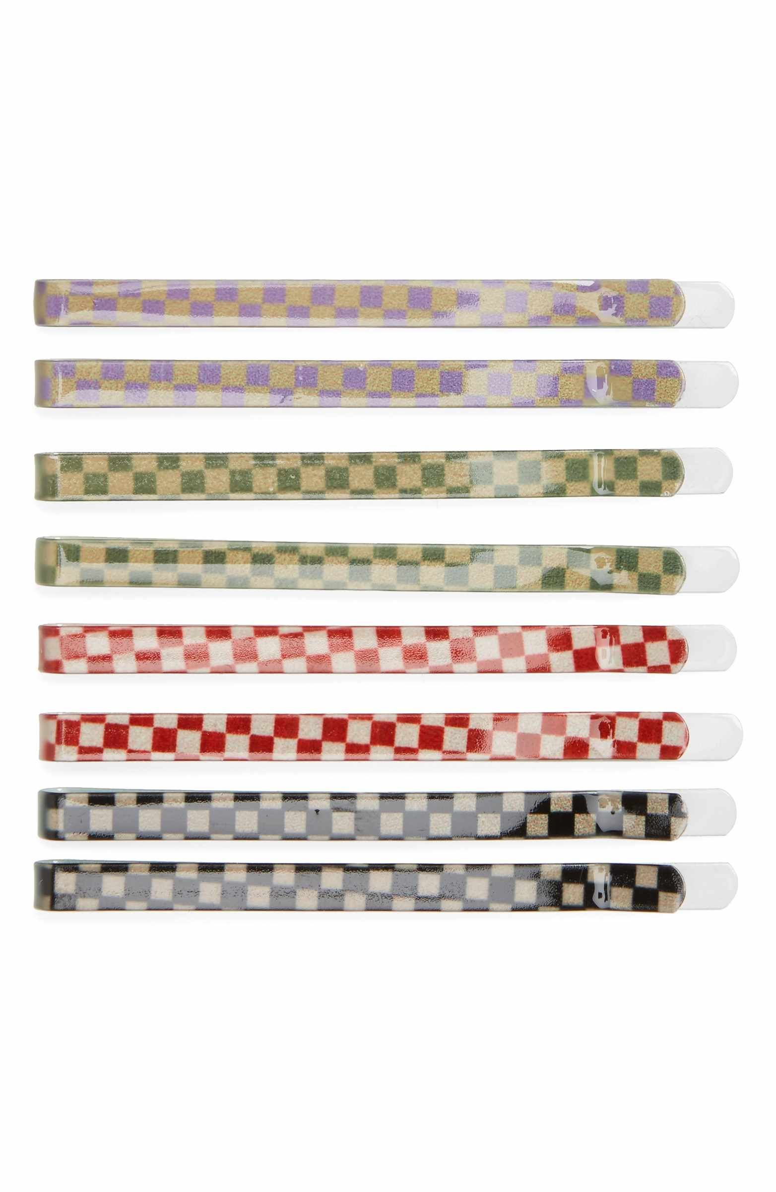 Checkerboard Hairstyle: Jane Tran Multi Checkered Set Of 8 Assorted