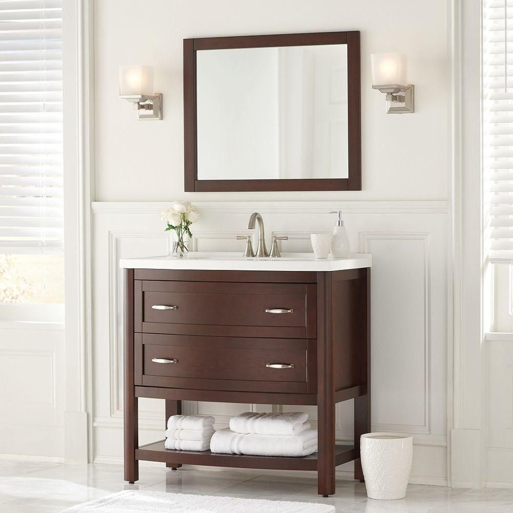 Home Decorators Collection Prescott 36 In. Vanity In Chestnut With Marble  Vanity Top And Mirror