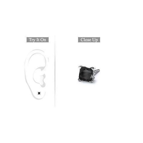 Mens 14K White Gold : Princess Cut Black Diamond Stud Earring - 0.50 CT. TW.