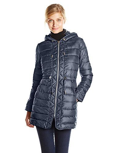 Kenneth Cole Women's Packable Down Coat with Cinch Waist, Midnight ...