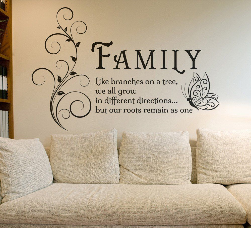 Family Tree Butterfly Wall Art Sticker Wall Decals Quotes Mural ...