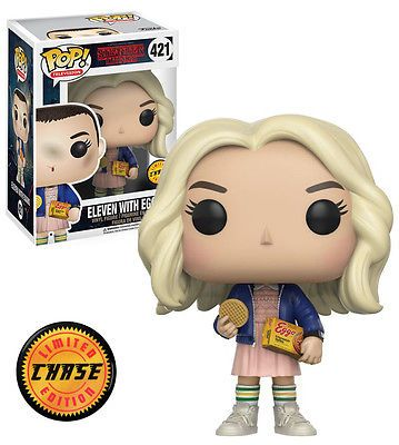 Funko Pop Chase Rare Stranger Things Eleven With Eggos With Wig 421 Mint Funkopop Collec Stranger Things Funko Pop Funko Pop Vinyl Rare Pop Vinyl Figures