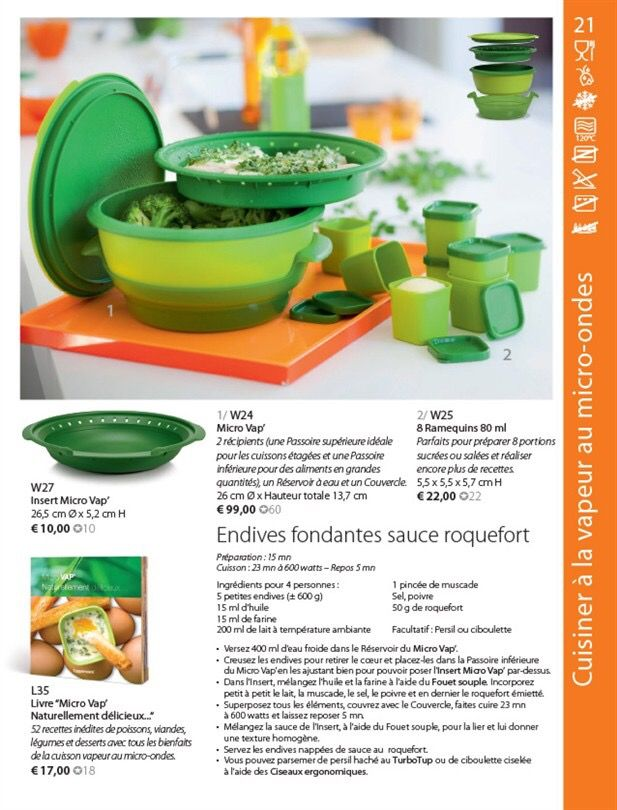 Endives fondantes sauce roquefort tupperware micro vap for Micro vap de tupperware