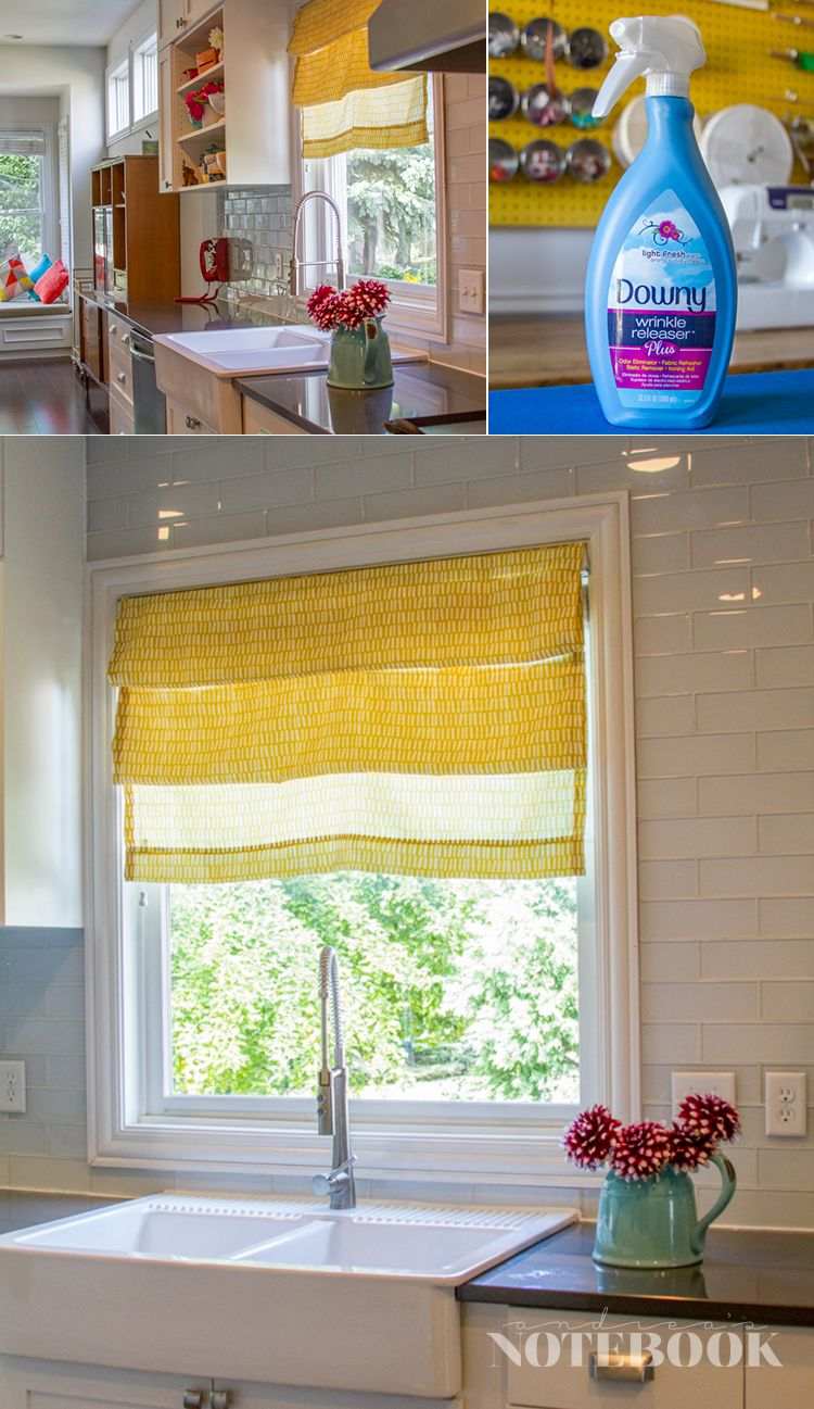 DIY video tutorial for no sew faux roman shades. You'll