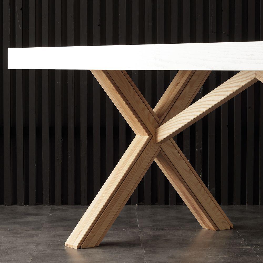 Blanc Table Extensible Avec Structure Solide Naturelle Rico Deco