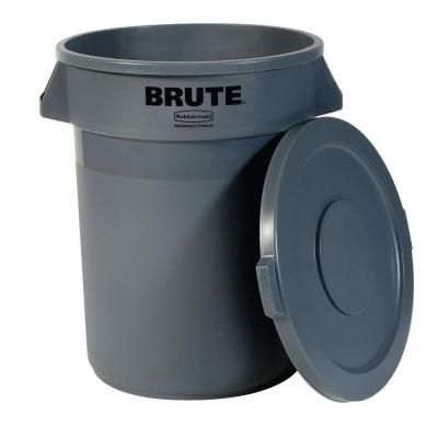 Rubbermaid Commercial Products Brute 20 Gal Grey Round Trash Can With Lid 2031186