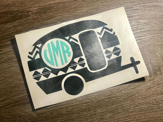 Camper Vinyl Decal Happy Monogram Sticker