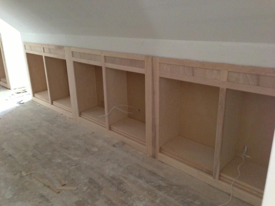 Wall Book Cases Upstairs Hallway Knee Wall Bookcases In
