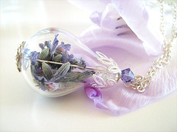 Lavender Flower Necklace Real Flower Jewelry Purple Flowers Blue Flowers Violet Flower Necklace Romantic Jewelry Gift For Christmas Flower Necklace Real Flowers Rose Necklace