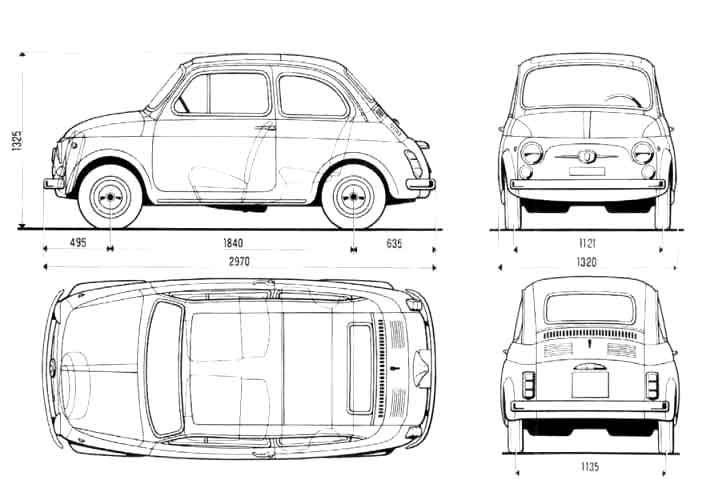 Fiat 500 blueprint | Fiat 500 | Pinterest | Fiat, Cars and Car drawings