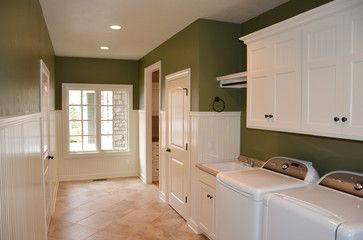 Laundry Room With Sherwin Williams Olive Grove Walls