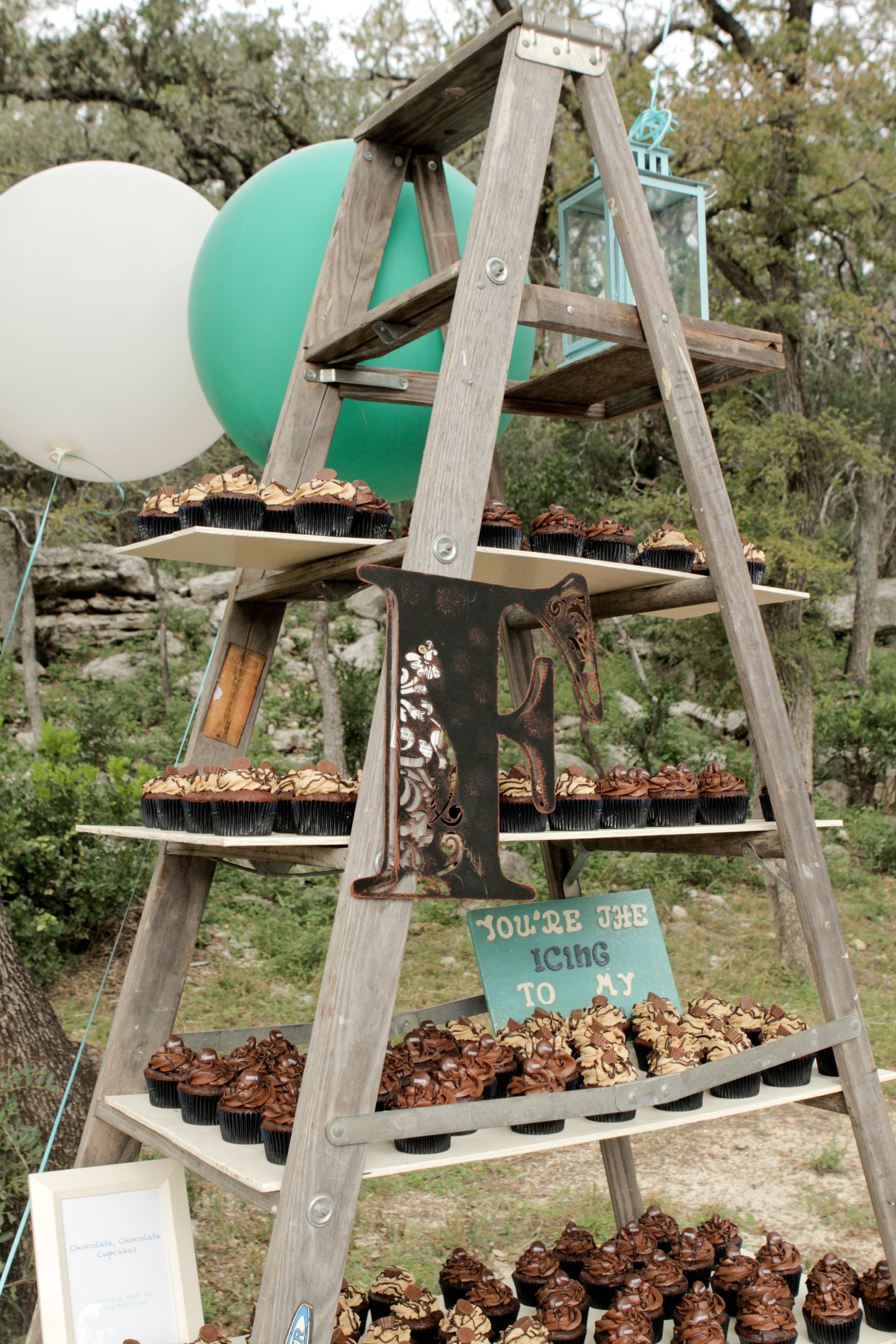 Ladder was used for the cupcake stand! | Our Wedding Day ...