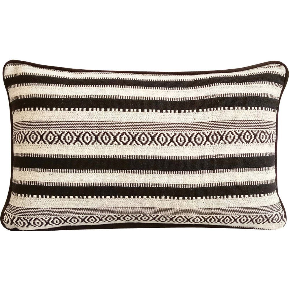 Lumbar Pillow Cover Decorative Pillow Cover Cream Linen Pillow Cover Dark Brown Botanical Embroidered Embroidered Cushions Linen Pillow Covers Linen Pillows