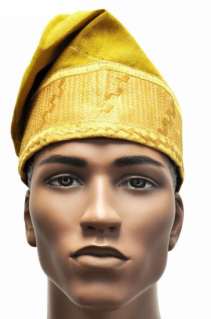 5ec890787ed70 Gold Embroidered African Net Aso Oke Hat Kufi Cap