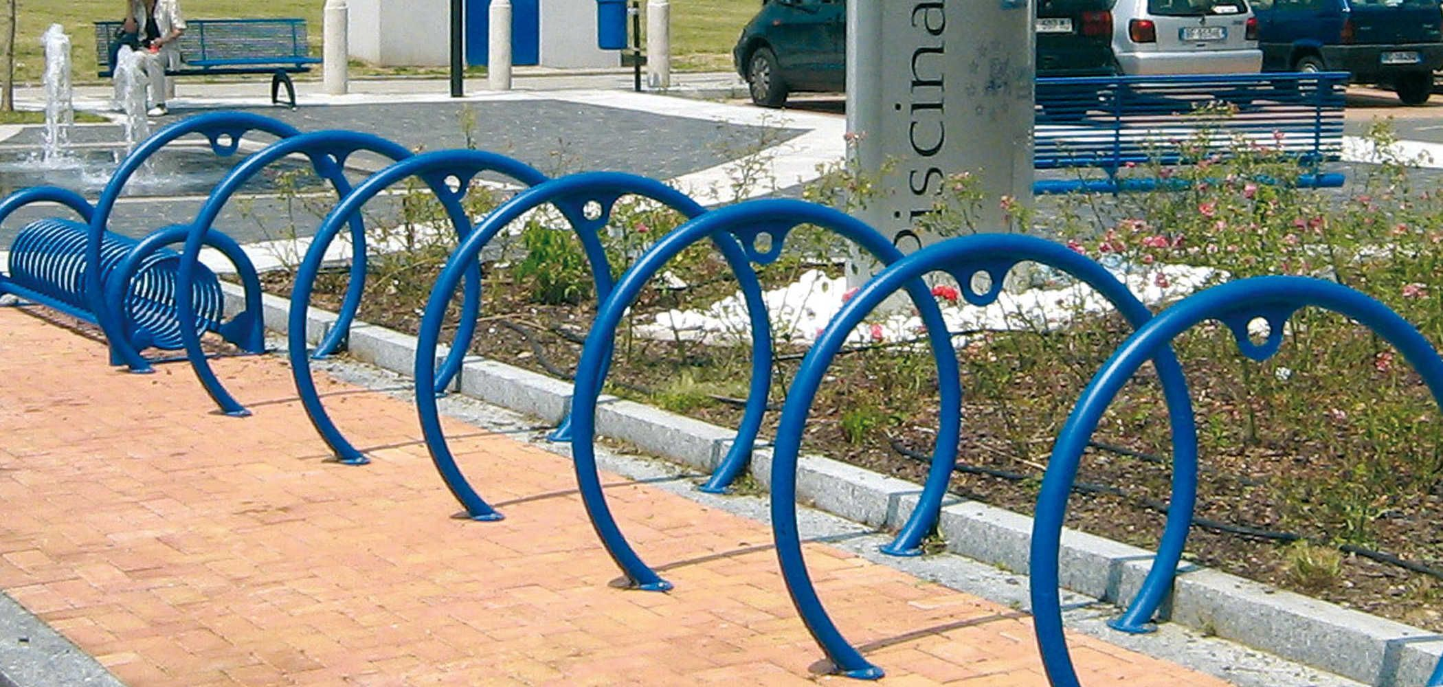 Bike rack made from bent tubular steel with decorative element designed to attach bikes or & Bike rack made from bent tubular steel with decorative element ...