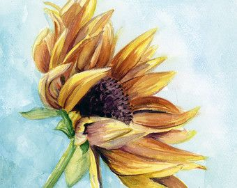 Sunflower Watercolor Painting, Flower Print, Wall Art, Sunflower,  Watercolor Painting, Flower Painting, Sunflower Wall Art, Flower Art