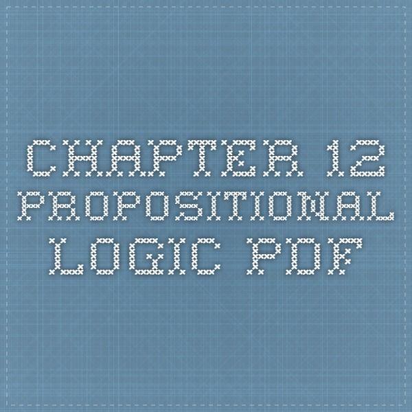 Chapter 12 Propositional Logic Pdf Mathematik Pinterest