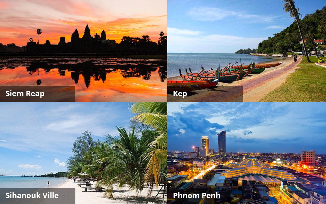 6 DAYS 5 NIGHTS Siem Reap - Sihanouk Ville - Kep - Phnom Penh Sightseeing Package more info: info@psdtravel.com