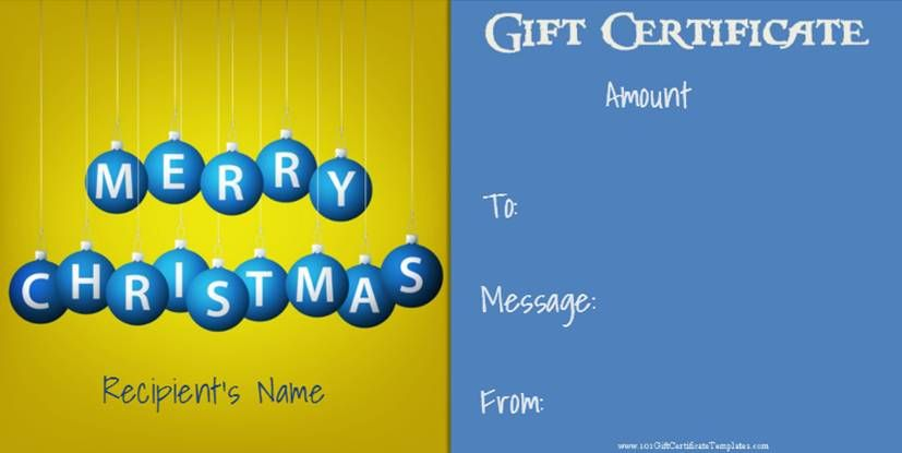 Christmas Gift Certificate Templates that can be personalized for