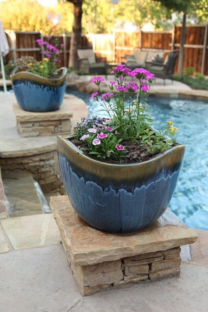 Colorful Pots Add Visual Interest By The Pool By Outdoor Signature In Argyle Tx Colorful Flower Pot Pool Plants Planters