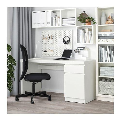 MALM Desk white in 2019  Office  White desks Ikea malm