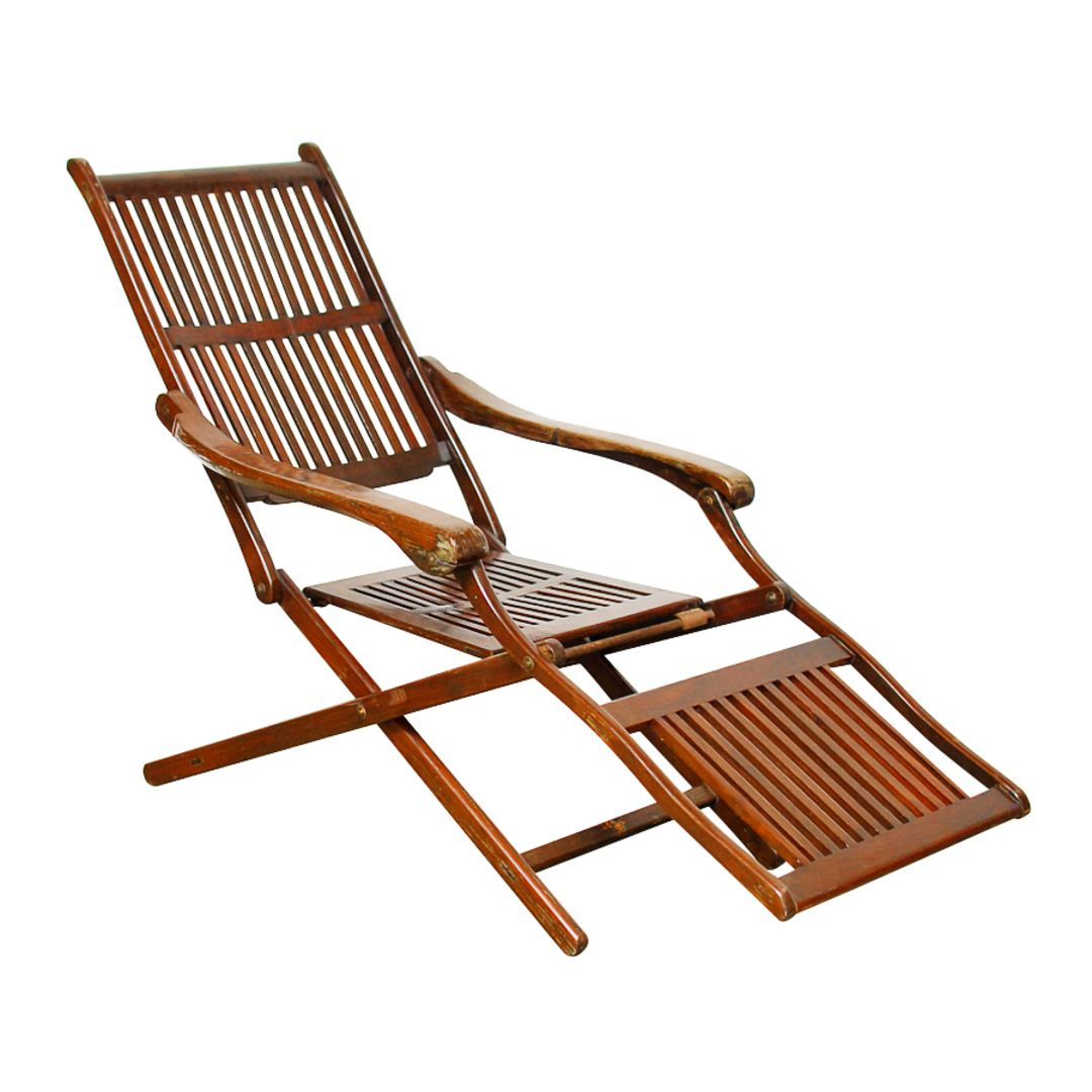 Ocean Steamer Deck Chair, Early 20th Century Vintage Chairs, Vintage Wood,  Antique Armchairs