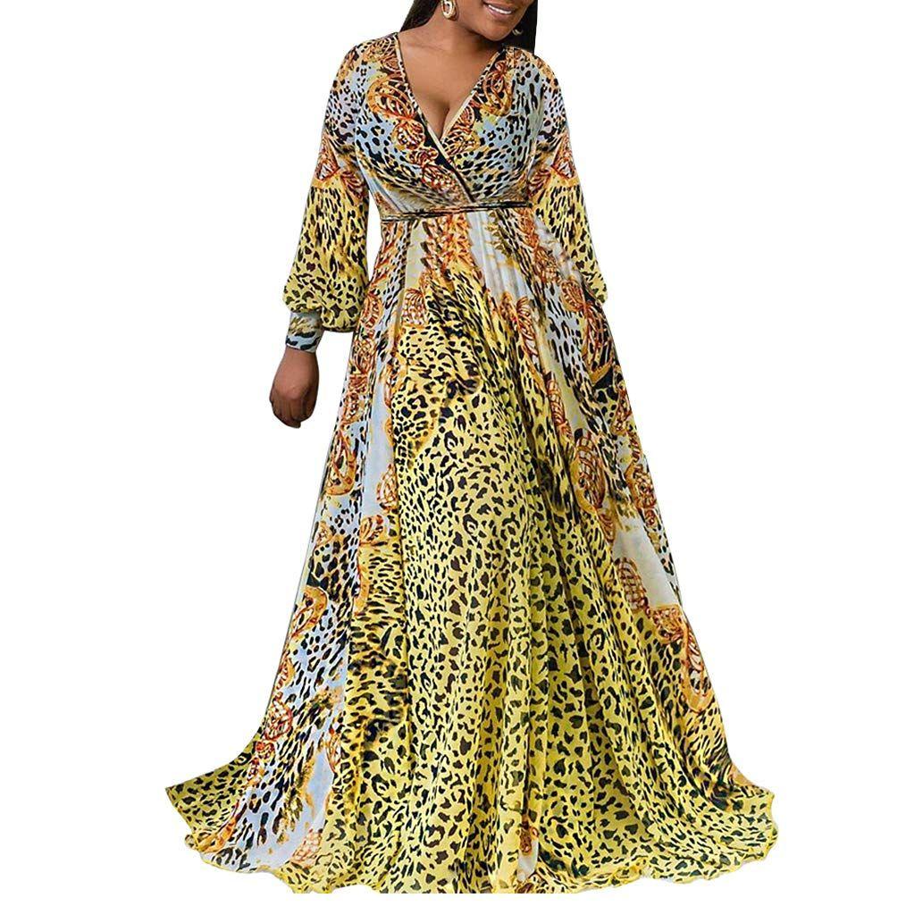 Bsc007 womens maxi dress chiffon leopard print floral wrap