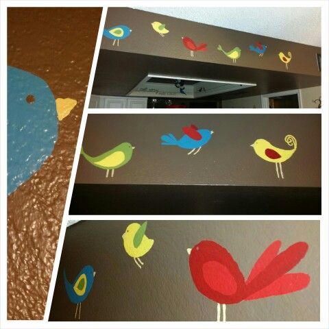Painted these whimsical birds in my kitchen. Drew them, first, with a white sewing pencil...so I could get a feel for the spacing & wash it off and start over if I didn't like it. It is also important to plan out the color before painting.
