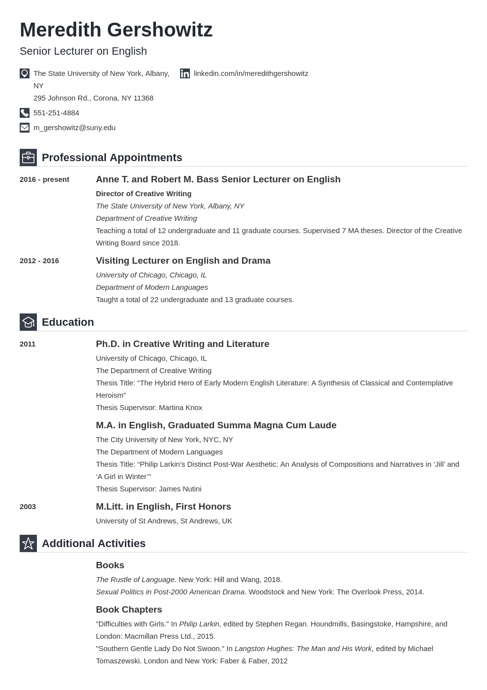 academic cv example template iconic in 2020 Academic cv