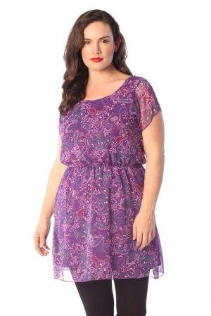 PRE ORDER: Pretty Paisley Purple Chiffon Tunic Top | WRAP Plus Size Clothing