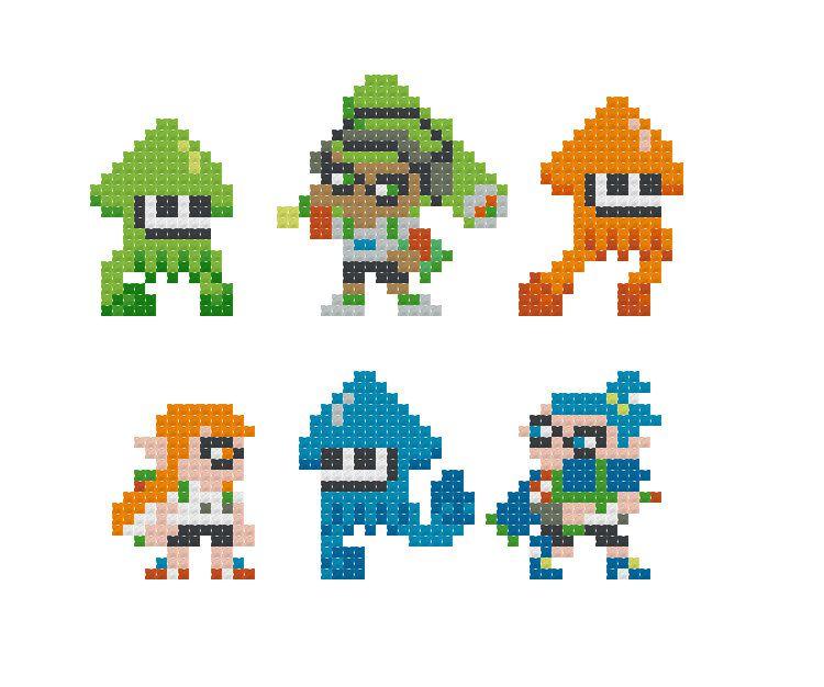 Fuse Bead or Cross Stitch Projects Splatoon Inklings Pixel Art Perler Pattern Pack