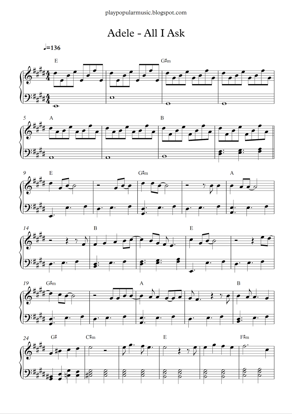 all i ask piano sheet music free easy