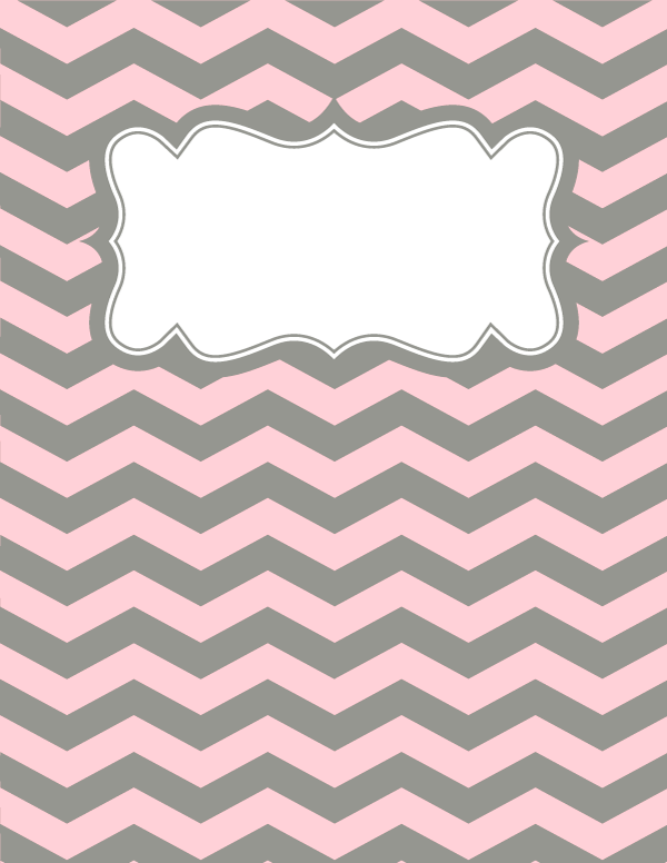 Free printable pink and gray chevron binder cover template. Download ...