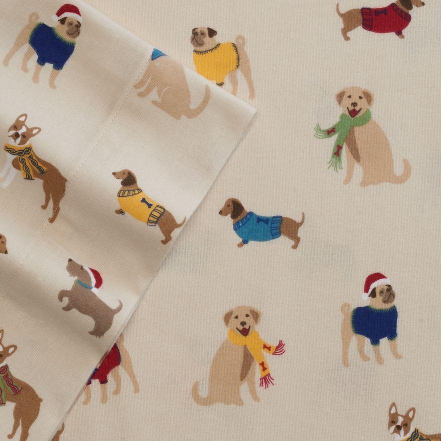 Cuddl Duds Heavyweight Dog Flannel Sheet Set Full Queen King Pug Dachshund Pug Sheet Sets Queen Sheet Sets Twin Sheet Sets