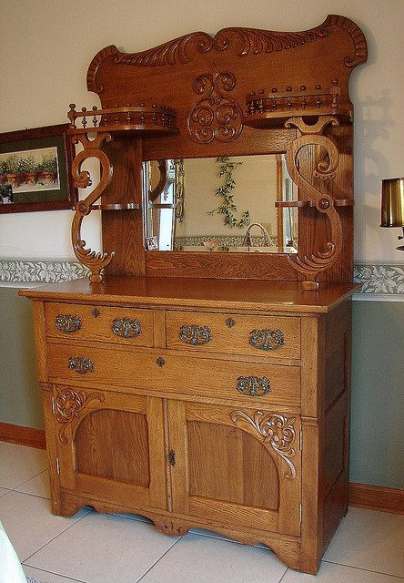 Antique 1920's Vintage Oak Serpentine Tierd Victorian Server Buffet China  Cabinet Cupboard w Mirror. $995.00 - Antique 1920's Vintage Oak Serpentine Tierd Victorian Server Buffet
