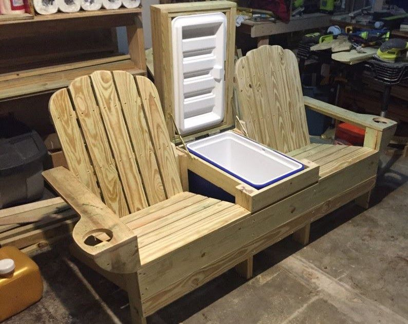Double Adirondack Chair Plans With Cooler In 2020 Adirondack
