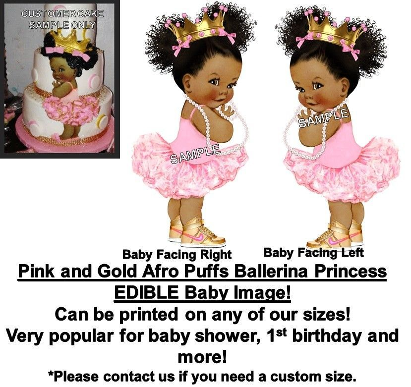 0fc8412c4fae2 Details about PRE-CUT Pink Gold Crown Ballerina Vintage Baby EDIBLE ...