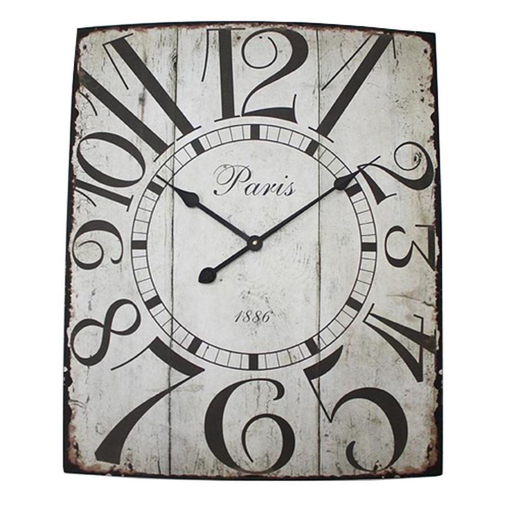 Distressed Off White Black Metal Vintage French Wall Clock NEW 70cm ...