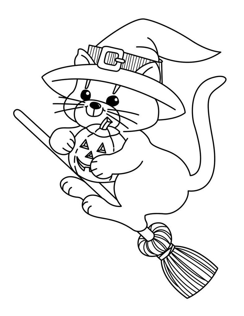 Hallween Witch Cat Witch Coloring Pages Halloween Coloring