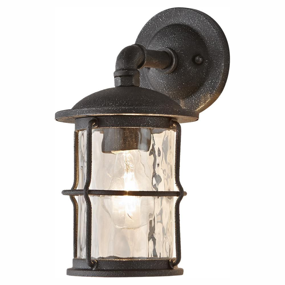 Home Decorators Collection 1 Light Gilded Iron 11 6 In Outdoor Wall Lantern Sconce 7955hdcgidi The Home Depot Outdoor Wall Lantern Porch Light Fixtures Wall Lantern