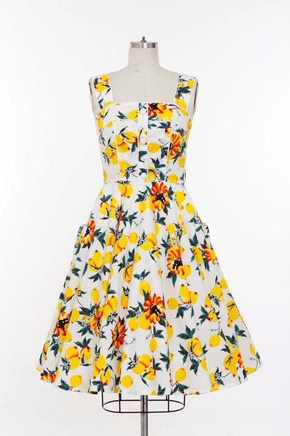 1f99ed2459bc5 Plus Size Lemon Yellow Dress Summer Dress Vintage Dress Swing Party Dress  Retro Holiday Dress 50s Dr
