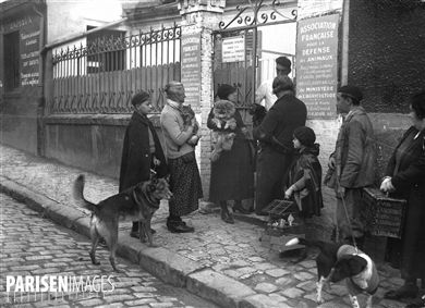 Association française pour la défense des animaux. Entrée du dispensaire. Paris, vers 1930.