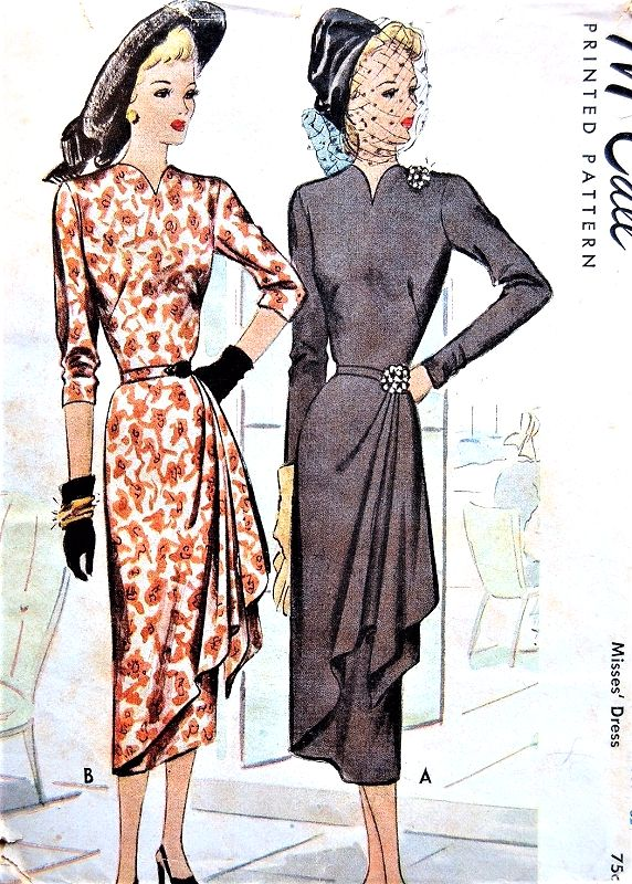 1940s DRAMATIC Side Drape Evening Dinner Dress Pattern McCALL 7128 Beautiful Design Bust 32 Vintage Sewing Pattern
