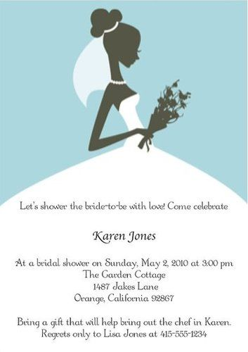 Black Bride Silhouette Lite Blue Background Lovely Simple Bridal - Bridal shower invitation template