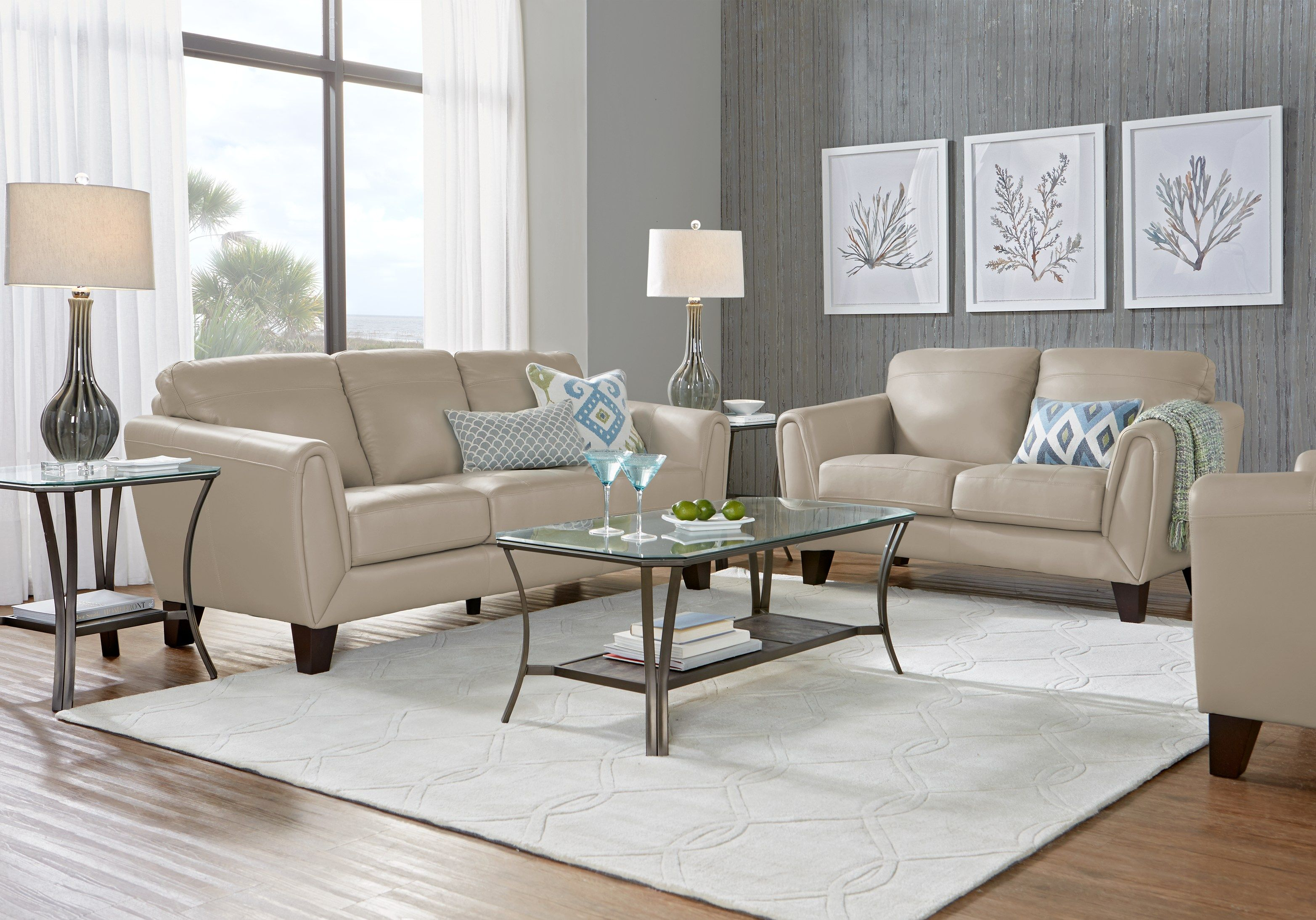 Livorno Beige Leather 3 Pc Living Room Leather Living Room