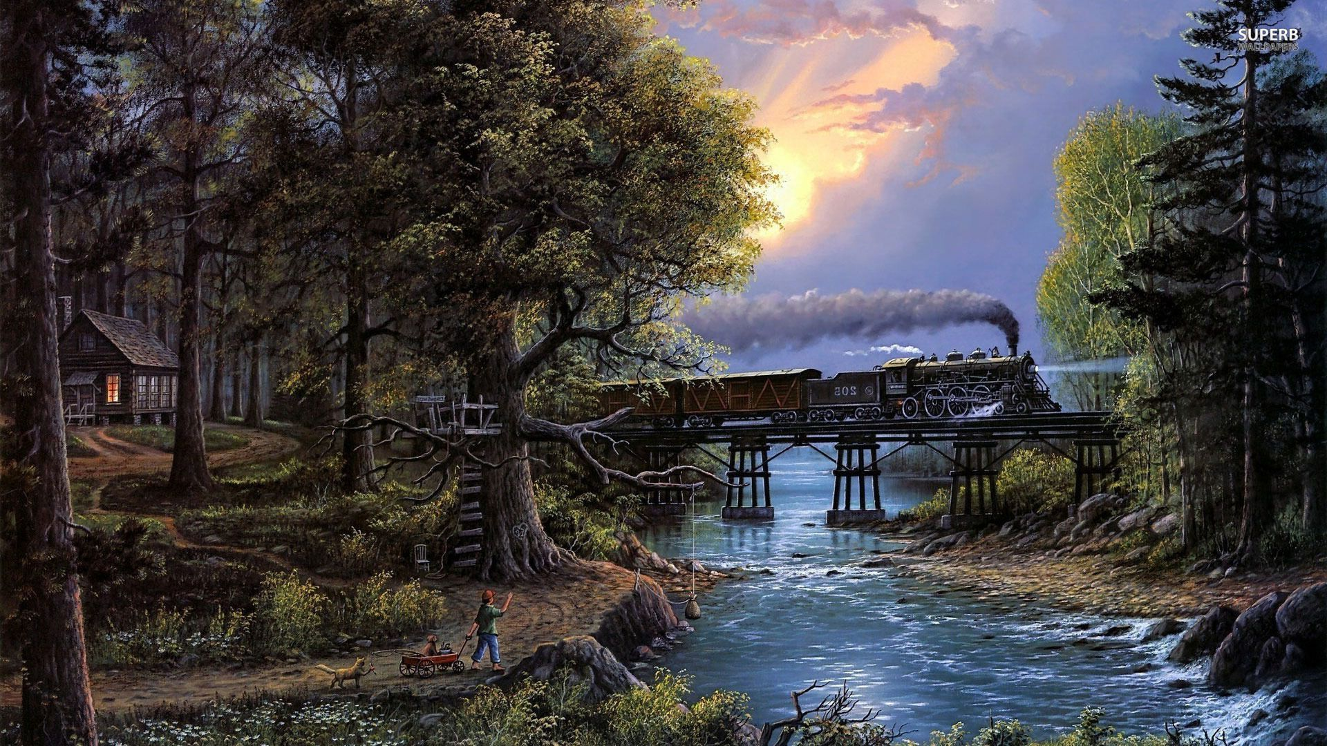 Steampunk Locomotive Wallpaper  Fantasy Wallpapers  #24147