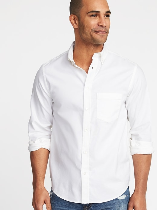 8d442a20 Old Navy Men's Regular-Fit Clean-Slate Built-In Flex Everyday Oxford Shirt  Cream Regular Size XS